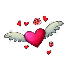 colorful sketch heart with wings vector image