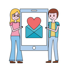 Couple holding big smartphone email love hart vector