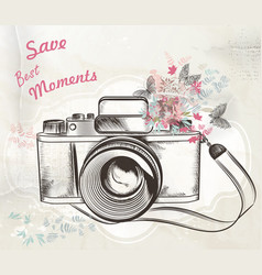 Cute hand drawn vintage camera vector