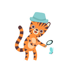 cute little tiger wearing panama hat looking vector image