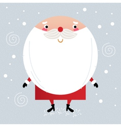 Cute Santa in red costume on snowing background vector image