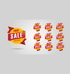final sale set design elements yellow circles vector image