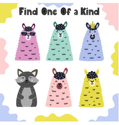 find one a kind i spy activity page for kids vector image