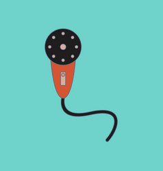 Flat icon on background kids toy microphone vector