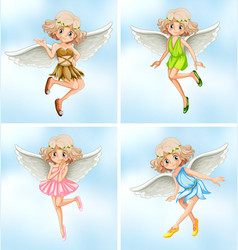 four fairies with white wings vector image
