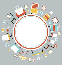 Furniture Flat Icons in Round Frame vector
