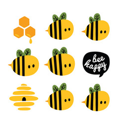 Greeting card with cartoon bees and beehive vector