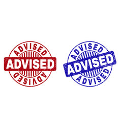 grunge advised scratched round stamp seals vector image