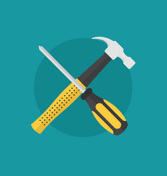 hammer and screw driver as maintenance symbol icon vector image