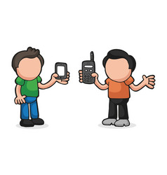 Hand-drawn cartoon of two men show their new and vector