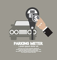 Hand Insert Coin Into Parking Meter vector image vector image