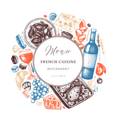 hand sketched french cuisine wreath design vector image