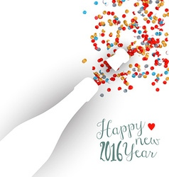 Happy new year 2016 confetti celebration champagne vector image