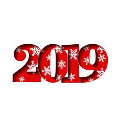 happy new year card red 3d number 2019 with vector image