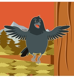 happy raven on tree winter flat background vector image