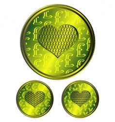 heart coins vector image