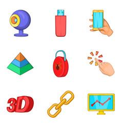 Internet site icons set cartoon style vector