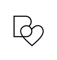Letter b heart logo design template alphabet b vector