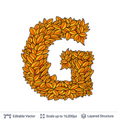 Letter g sign of autumn leaves vector