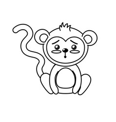 Line cute monkey wild animal with face expression vector