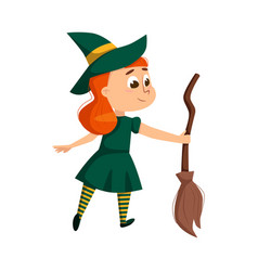 little witch holding broom cute redhead girl vector image