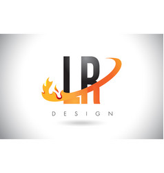 Lr l r letter logo with fire flames design and vector
