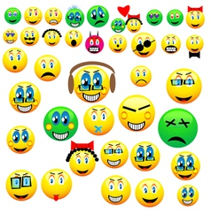 many emoticons vector image