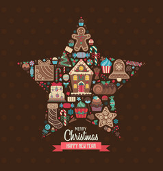 merry christmas greeting card in star shape vector image