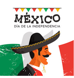 mexico independence day card of mariachi man vector image