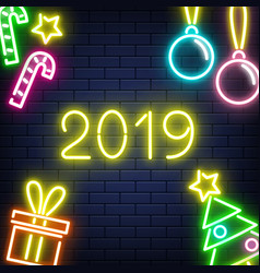 Neon 2019 new year background on brick wall vector