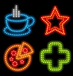 Neon food set vector