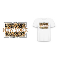 new york slogan typography on leopard texture vector image