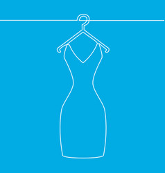one line drawing of isolated woman dress on hanger vector image
