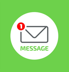 outline closed envelope flat icon with counter vector image