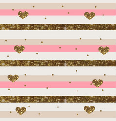 Pinkish white striped pattern with sparkly gold vector