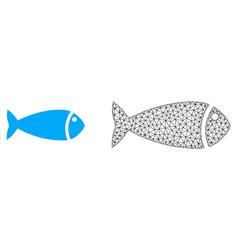 Polygonal mesh fish and flat icon vector