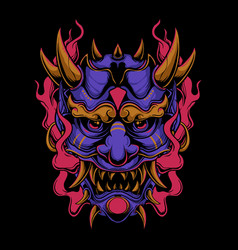 purple oni mask vector image
