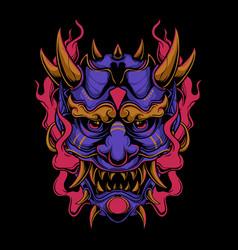 Purple oni mask vector
