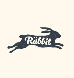 rabbit lettering design farm animals - rabbit vector image