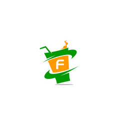 restaurant drink initial f vector image