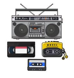 retro audio cassette tape recorder music player vector image vector image