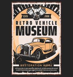 Retro vehicles museum vintage car repair service vector