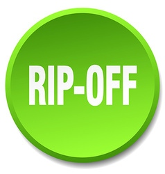 rip-off green round flat isolated push button vector image