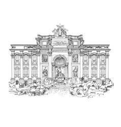 Rome city famous landmark trevi fountain travel vector