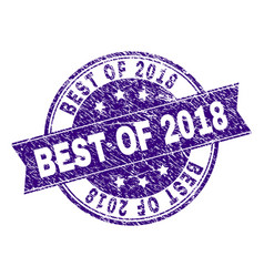 Scratched textured best of 2018 stamp seal vector