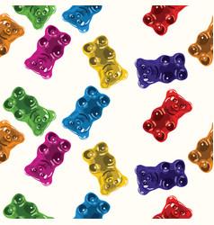 Seamless gummy bear candies pattern vector