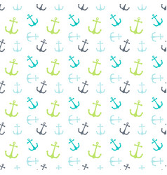 seamless pattern colored anchor on white vector image