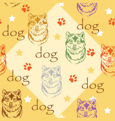 Seamless pattern with dog vector