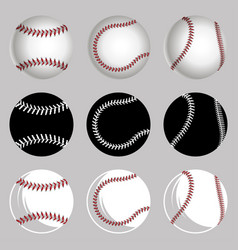 Set baseball balls vector