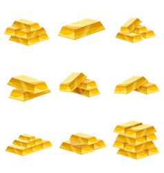 Set of gold bars icon cartoon style vector